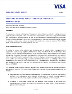 Visa Security Alert July 2014