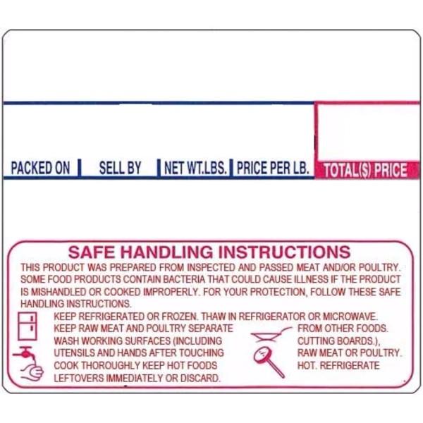 LST-8030 CAS Non UPC Safe Handling Instructions Scale Labels